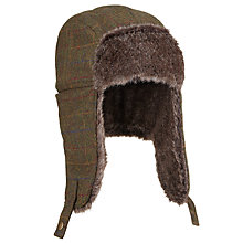Buy John Lewis Wool Tweed Trapper Hat, Brown Online at johnlewis.com