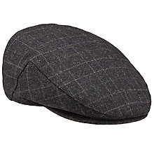 Buy John Lewis Window Check Wool Woven Flat Cap, Grey Online at johnlewis.com
