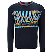 Buy Lyle & Scott Block Fair Isle Jumper, New Navy Online at johnlewis.com