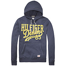 Buy Hilfiger Denim Printed Cotton-Blend Hoodie, Sky Captain Online at johnlewis.com