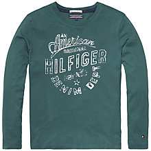 Buy Tommy Hilfiger Boys' Long Sleeve Logo T-Shirt, Green Online at johnlewis.com