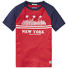 Buy Tommy Hilfiger Boys' New York Skyline Raglan T-Shirt, Red/Navy Online at johnlewis.com