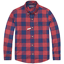 Buy Tommy Hilfiger Boys' Long Sleeve Check Shirt, Red/Blue Online at johnlewis.com