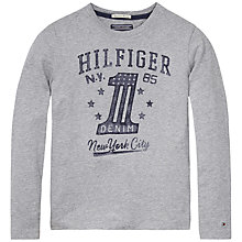 Buy Tommy Hilfiger Boys' Manhattan Long Sleeve T-Shirt, Grey Online at johnlewis.com