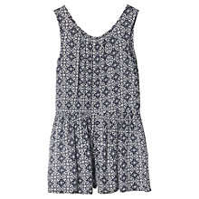 Buy Mango Kids Girls' Tile Print Playsuit, Navy Online at johnlewis.com