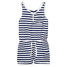 Buy Mango Kids Girls' Sailor Stripe Cotton Short Playsuit, Navy Online at johnlewis.com