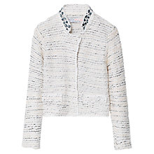 Buy Mango Kids Girls' Beaded Jacket, Natural White Online at johnlewis.com
