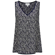 Buy Pure Collection Printed Vest Top, French Navy Online at johnlewis.com