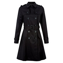 Buy Hobbs Annora Trench Cotton Coat, Black Online at johnlewis.com