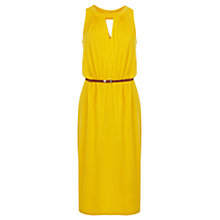 Buy Oasis Notch Neck Midi Dress, Bright Yellow Online at johnlewis.com