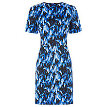Buy Warehouse Feather Print Dress, Blue Online at johnlewis.com