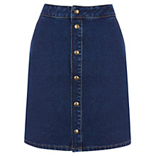 Buy Warehouse Denim Popper Front Skirt, Indigo Online at johnlewis.com