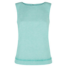 Buy Hobbs Linen Sierra Trim Top, Spearmint Mel Online at johnlewis.com