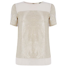 Buy Oasis The Darcy T-shirt, Gold Online at johnlewis.com