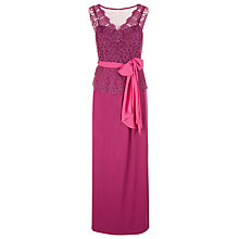 Buy Jacques Vert Embroidered Mesh Peplum Dress, Dark Pink Online at johnlewis.com