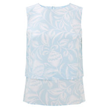 Buy Hobbs Silk Kora Top, Pastel Blue / Ivory Online at johnlewis.com