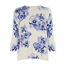Buy Oasis Watercolour Floral Top, Multi Blue Online at johnlewis.com
