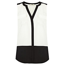 Buy Oasis Sleeveless Tipped T-shirt, Off White Online at johnlewis.com