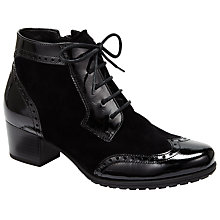 Buy Gabor Hamlyn Wide Fit Suede Patent Lace Up Ankle Boots, Black Online at johnlewis.com