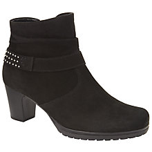 Buy Gabor Joyous Wide Fit Nubuck Studded Ankle Boots, Black Online at johnlewis.com