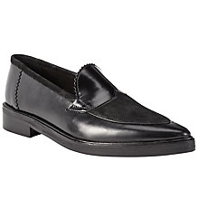 Buy H by Hudson Viti Leather Pointed Loafers, Black Online at johnlewis.com