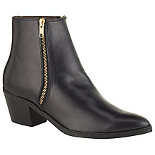 Buy H by Hudson Azi Leather Pointed Ankle Boots, Black Online at johnlewis.com
