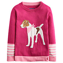Buy Little Joule Girls' Dog Motif Jumper, Ruby Online at johnlewis.com