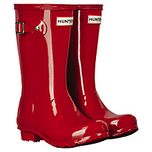 Buy Hunter Children's Gloss Wellington Boots, Military Red Online at johnlewis.com