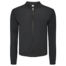 Buy Kin by John Lewis Merino Blend Smart Zip Through Top, Black Online at johnlewis.com