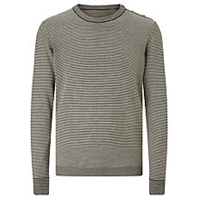 Buy Kin by John Lewis Fine Stripe Merino Wool Button Neck Jumper Online at johnlewis.com
