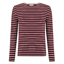 Buy JOHN LEWIS & Co. Vintage Slub Stripe Top, Oxblood Online at johnlewis.com