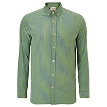 Buy JOHN LEWIS & Co. Wide Stripe Peached Cotton Shirt, Green Online at johnlewis.com