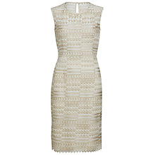 Buy Gina Bacconi Stripe Embroidered Dress, Gold Online at johnlewis.com