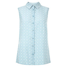 Buy Hobbs Sleeveless Dot Shirt, Dusty Blue/Ivory Online at johnlewis.com