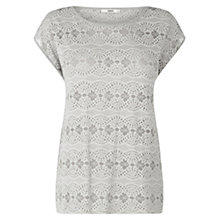 Buy Oasis Lace Burnout T-Shirt, Mid Grey Online at johnlewis.com