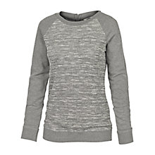 Buy Fat Face Textured Zip Back Crew Cotton Jumper, Grey Online at johnlewis.com