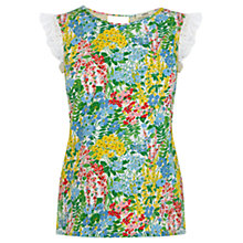 Buy Oasis Fresh Flower Print Broderie Top, Multi Online at johnlewis.com