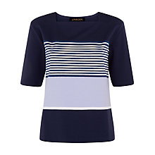 Buy Jaeger Engineered Stripe Cotton T-shirt, Multi Online at johnlewis.com
