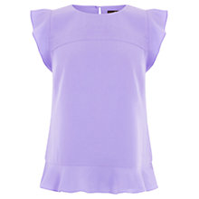 Buy Oasis Jemima Frill Crepe Top, Lilac Online at johnlewis.com