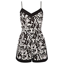 Buy Oasis Shadow Floral Print Cami Playsuit, Black/White Online at johnlewis.com