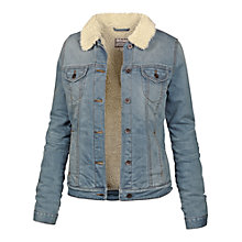 Buy Fat Face Denim Borg Lined Jacket, Denim Online at johnlewis.com