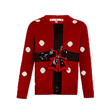 Buy John Lewis Girls' Christmas Present Jumper, Red Online at johnlewis.com