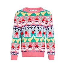 Buy John Lewis Girls' Fairisle Jumper, Pink Multi Online at johnlewis.com