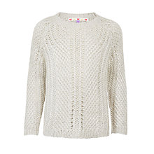 Buy John Lewis Girls' Chunky Knit Lurex Jumper, Grey Online at johnlewis.com