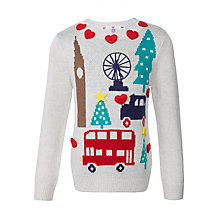 Buy John Lewis Girls' London Christmas Jumper, Cream Online at johnlewis.com