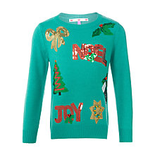Buy John Lewis Girls' Sequin Noel Christmas Jumper, Green Online at johnlewis.com