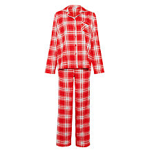 Buy John Lewis Christmas Tartan Pyjama Set, Red Online at johnlewis.com