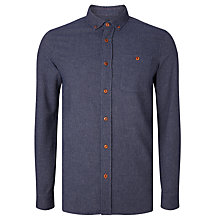Buy JOHN LEWIS & Co. Recycled Cotton Flannel Melange Worker Shirt, Navy Online at johnlewis.com