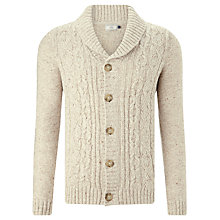 Buy John Lewis Frosty Cable Knit Cardigan, Stone Online at johnlewis.com