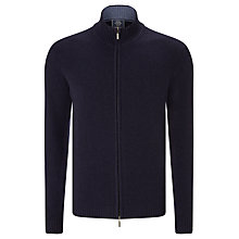 Buy John Lewis Made in Italy Merino Cashmere Zip Through Jumper, Navy Online at johnlewis.com